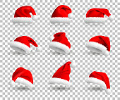 Set of Red Santa Claus Hats isolated on transparent background. Vector Realistic Illustration.