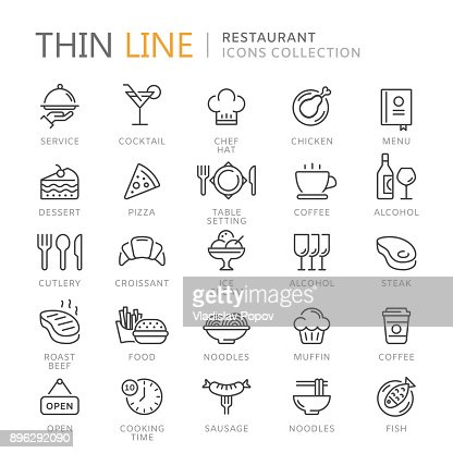 Collection of restaurant thin line icons : Vector Art