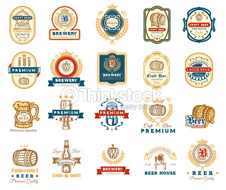 collection of retro beer emblems badges stickers arte vetorial