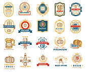 Vector collection of retro beer emblems, badges, stickers isolated on white.
