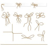 Collection of ribbons ahd bows in rope style for your design
