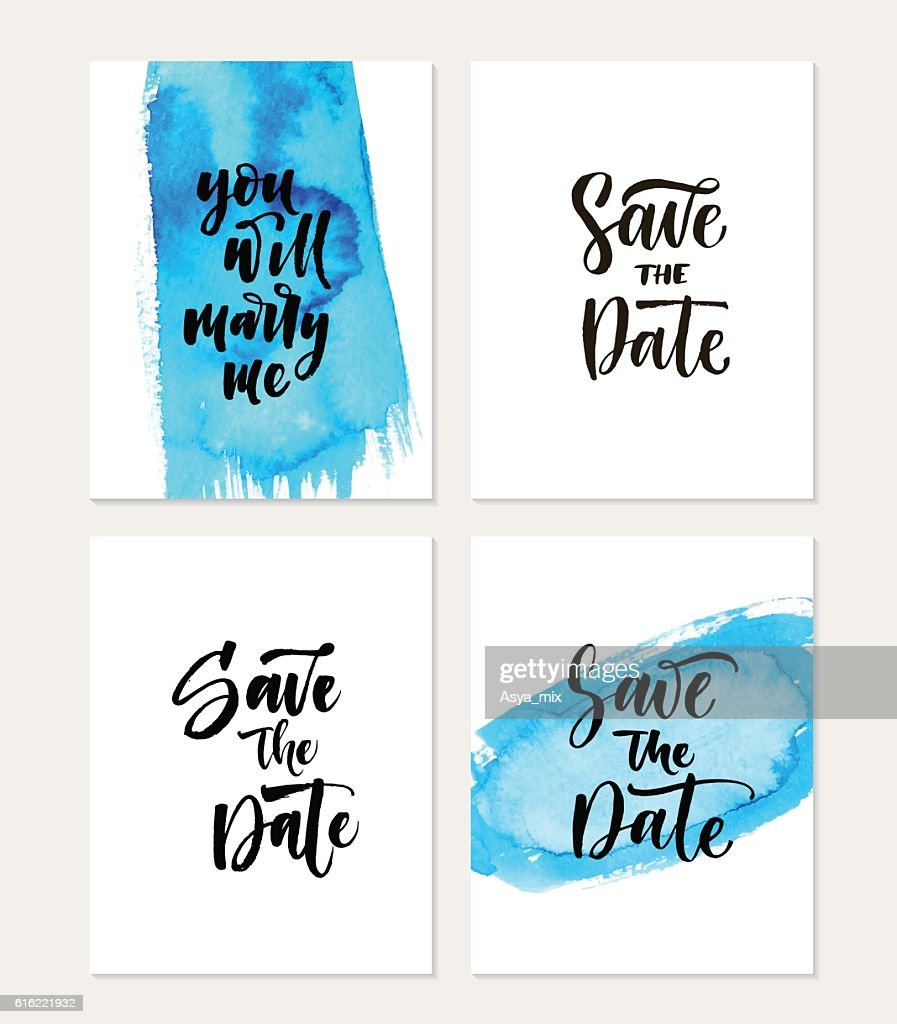 Collection of save the date cards. : Vector Art