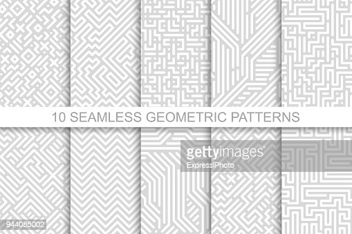 Collection of seamless geometric patterns - gray striped design. Vector digital backgrounds : Vector Art