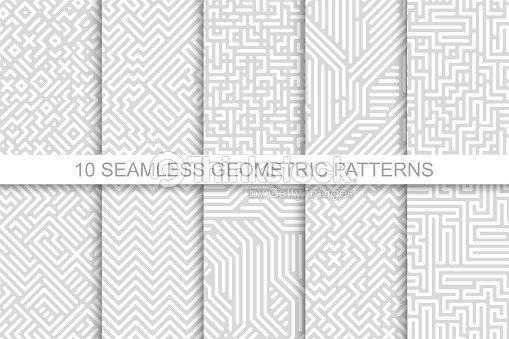 シームレスな幾何学的パターンのコレクション グレー ストライプ デザインです。デジタルのベクトルの背景 : ベクトルアート
