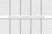 Collection of seamless geometric patterns - gray striped design. Vector digital backgrounds.