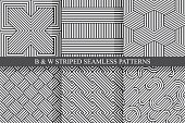 Collection of seamless striped patterns. Black and white repeatable wicker texture.