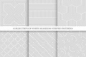 Collection of seamless striped patterns. White and gray repeatable wicker texture.