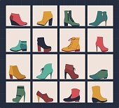 vector collection of shoes on shelves of shop.  Footwear in flat icons set of male and female shoes, boots for different seasons.