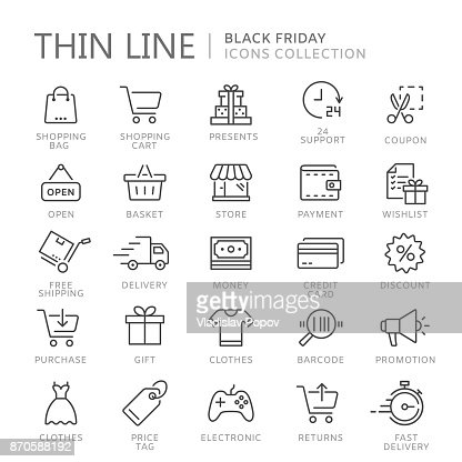 Collection of shopping thin line icons : Arte vettoriale