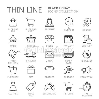 Collection of shopping thin line icons : stock vector