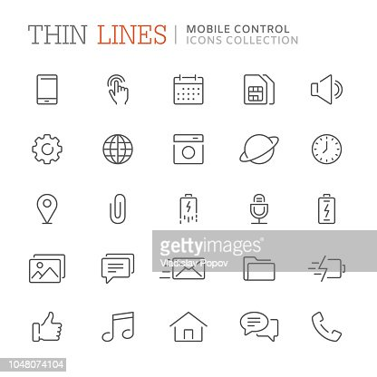Collection of smartphone related line icons. Vector eps8 : stock vector