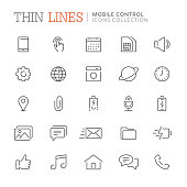 Collection of smartphone related line icons