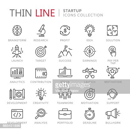 Collection of startup thin line icons : Vector Art