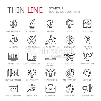Collection of startup thin line icons : stock vector