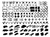 Collection of strokes, spots, circles, crosses, arrows, frames, signs, torn backgrounds and lines. Hand Drawn. Vector