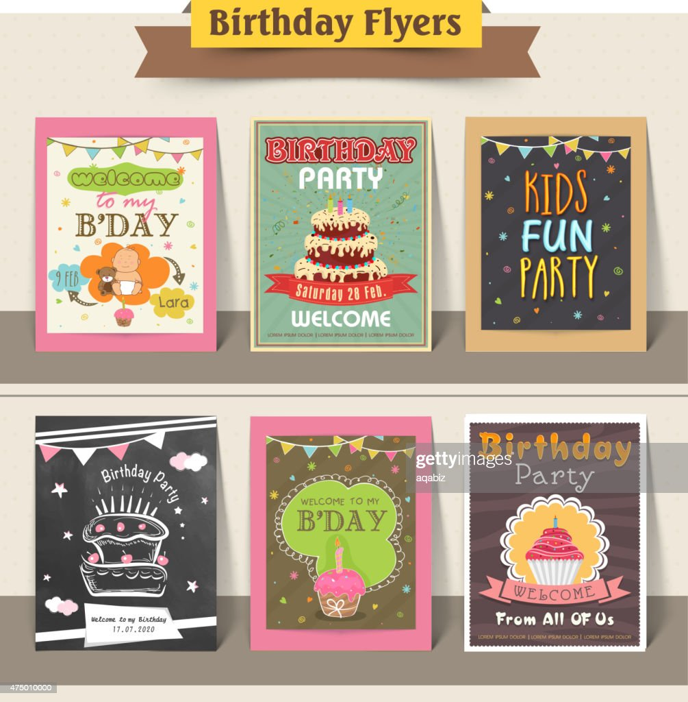 Collection Of Stylish Birthday Party Flyers Vector Art Thinkstock