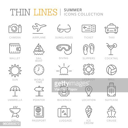 Collection of summer thin line icons : Vector Art