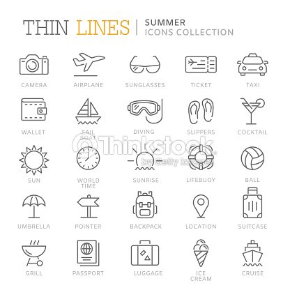 Collection of summer thin line icons : stock vector