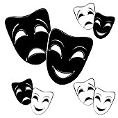 Collection of theater masks on a white background.