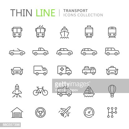 Collection d'icônes de fine ligne de transport : Clipart vectoriel