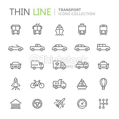 Collection of transport thin line icons : stock vector