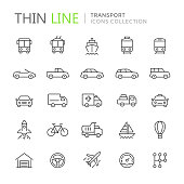 Collection of transport line icons. Vector eps8
