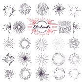 Collection of trendy hand drawn retro sunburst. Bursting rays design elements.