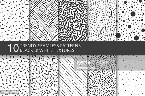 Collection of trendy seamless patterns. Retro fashion style 80-90s. Black and white mosaic textures. You can find seamless background in swatches panel. : stock vector