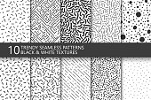 Collection of trendy seamless patterns. Retro fashion style 80-90s. Monochrome mosaic textures. You can find seamless background in swatches panel.