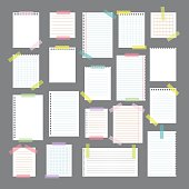 Collection of various note papers with different tape strips. Cute design elements. Vector illustration