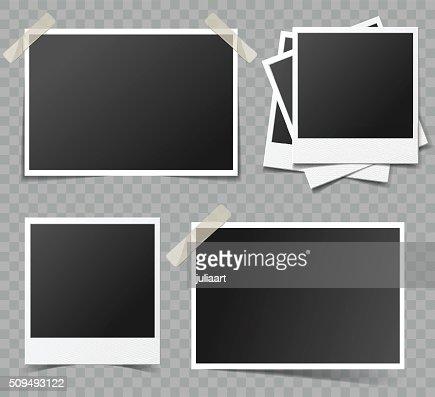 Colección de marcos de foto Vector de en blanco transparente de efectos de sombra : Arte vectorial