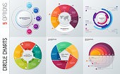 Collection of vector circle chart infographic templates for presentations, advertising, layouts, annual reports. 5 options, steps, parts.