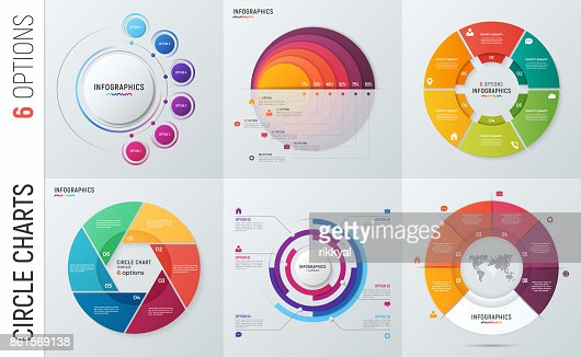 Collection of vector circle chart infographic templates for presentations, advertising, layouts, annual reports. 6 options, steps, parts. : stock vector