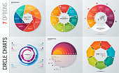 Collection of vector circle chart infographic templates for presentations, advertising, layouts, annual reports. 7 options, steps, parts.