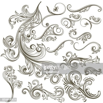 Collection of vector hand drawn floral swirls for design : Vector Art