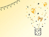 Collection of vector realistic gold birthday party objects with doodle element in a gift box.