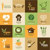 Collection of icons representing healthy food and organic products. This file is saved in EPS10 format.