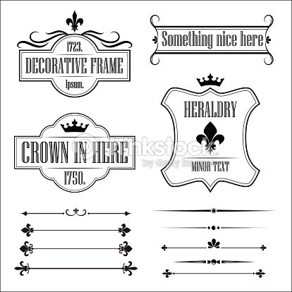 Collection Of Vintage Frames Borders And Deviders Vector Art