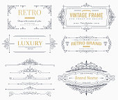 Collection of vintage patterns. Flourishes calligraphic ornaments and frames. Retro style of design elements, postcard, banners. Vector template