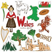 Fun colorful sketch collection of Wales icons, countries alphabet