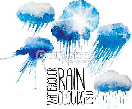 Collection Of Watercolor Rain Clouds Vector Art | Thinkstock