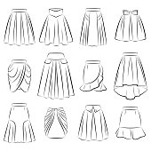 Big vector collection of different women skirts