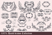Antique styled collection of wreath, frames and ornaments for design. Hand drawn set