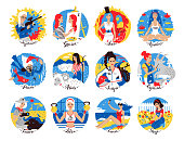 Collection of Zodiac signs illustrations with female characters.