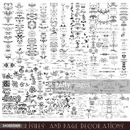Collection or mega set of vector decorative flourishes and calligraphic : Vector Art