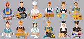 Collection professions. Profession people and avatars collection. Auto mechanic, cook, carpenter, laundress, electrician, judge, doctor, pharmacist, climber, policeman, welder vector