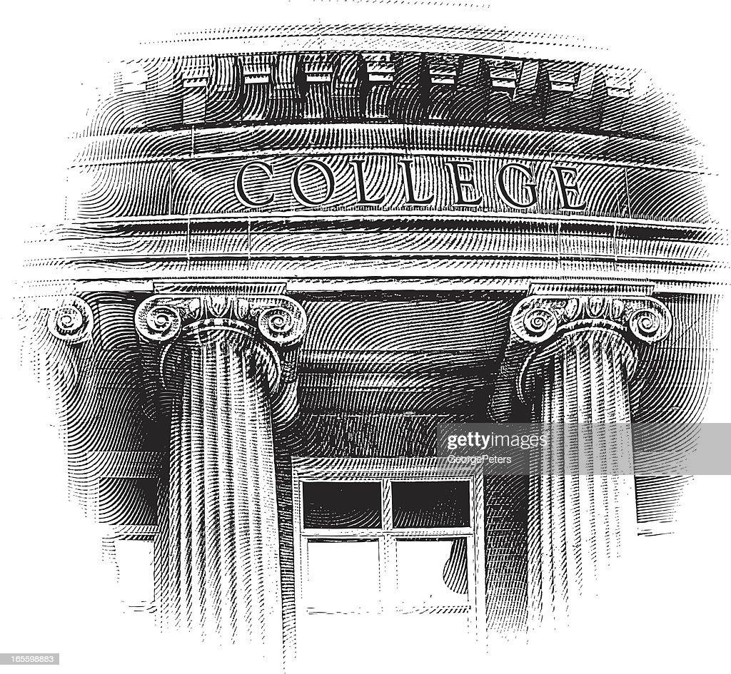 College Building Engraving : Vector Art