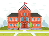 College campus for students, school high or university building. Student house entrance vector illustration