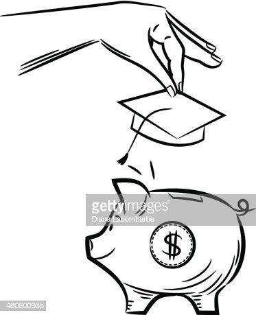 College Savings Piggy Bank : Vector Art