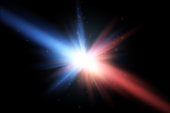 Collision of two forces with red and blue light. Vector illustration. Explosion concept.